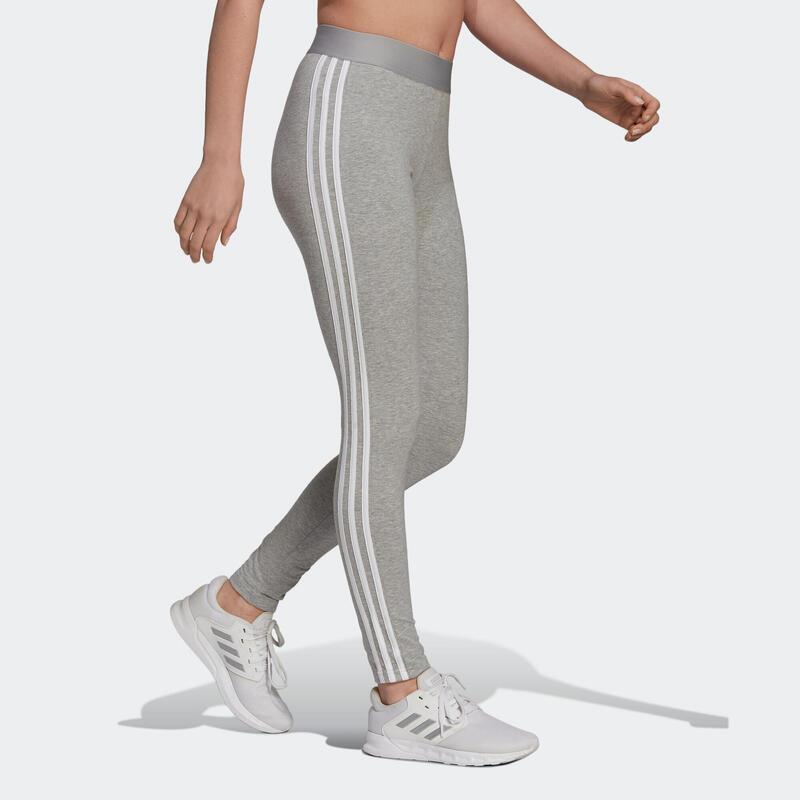 Legging fitness long coton majoritaire taille haute femme - 3 bandes gris chiné