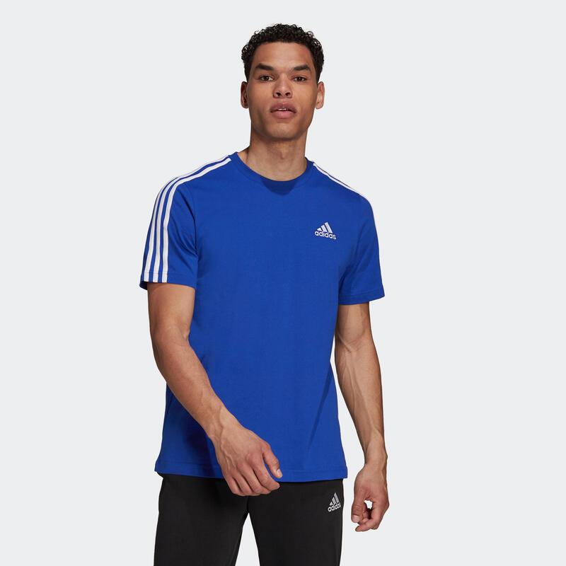 T-shirt fitness Adidas 3S manches courtes slim coton col rond homme bleu