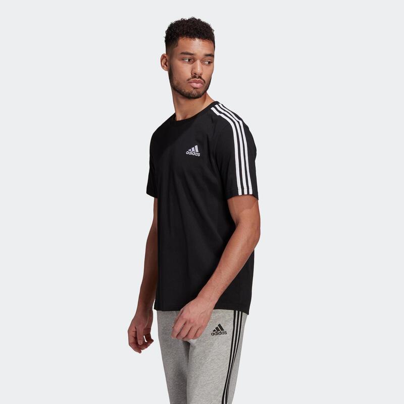 T-shirt fitness Adidas 3S manches courtes slim coton col rond homme noir