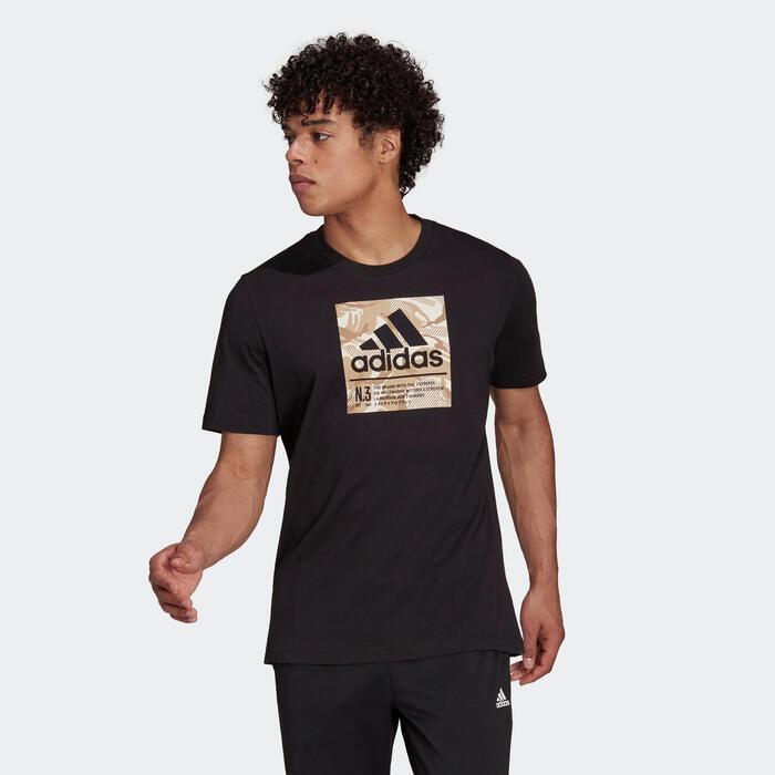 T-shirt fitness Adidas manches courtes 100% coton col rond homme noir à imprimé