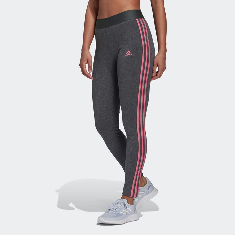 Legging fitness long coton majoritaire taille haute femme - Adidas 3 bandes gris
