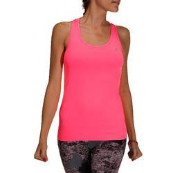 Camiseta Sin Mangas Fitness Cardio Domyos MyTop 100 Mujer Rosa Chicle Fluor