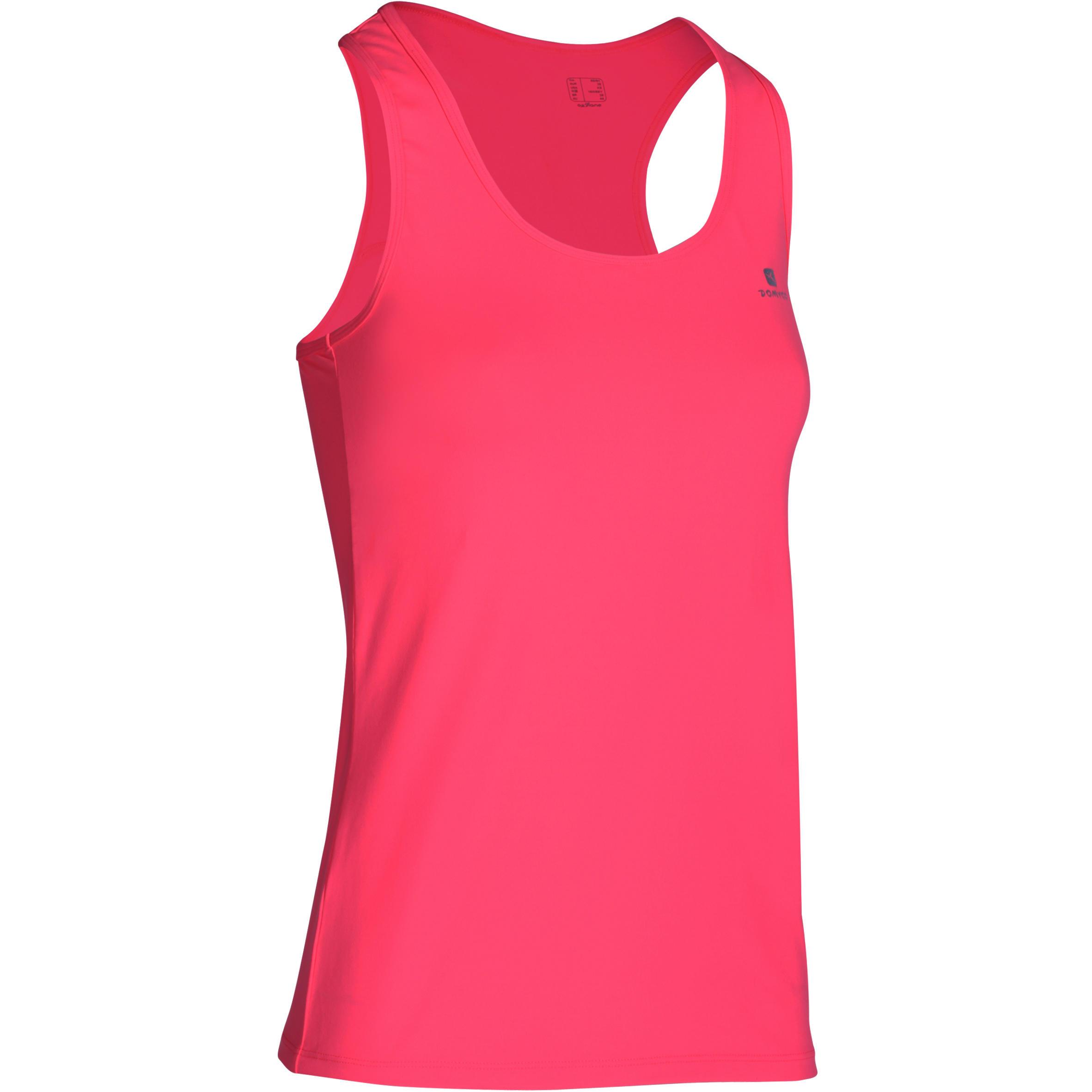 Playera sin mangas MY TOP fitness dama rosa fluorescente