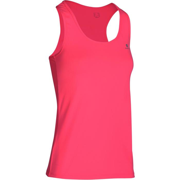 4196f24a1b Camiseta Sin Mangas Fitness Cardio Domyos MyTop 100 Mujer Rosa Chicle Fluor