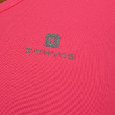 Camiseta manga sisa fitness cardio mujer rosado fosforescente MY TOP Energy