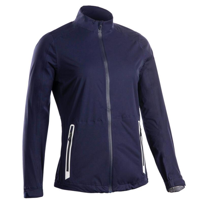 Women's golf waterproof rain jacket RW500 navy blue