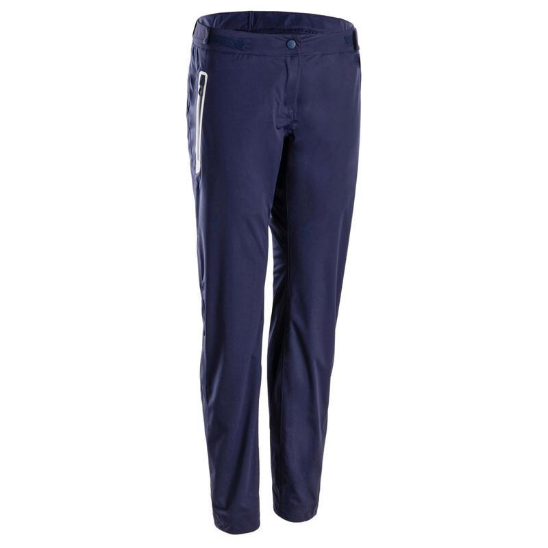 Pantalon de golf de pluie imperméable femme RW500 bleu marine