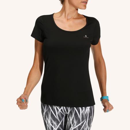 T-Shirt Fitness Energy Wanita - Hitam
