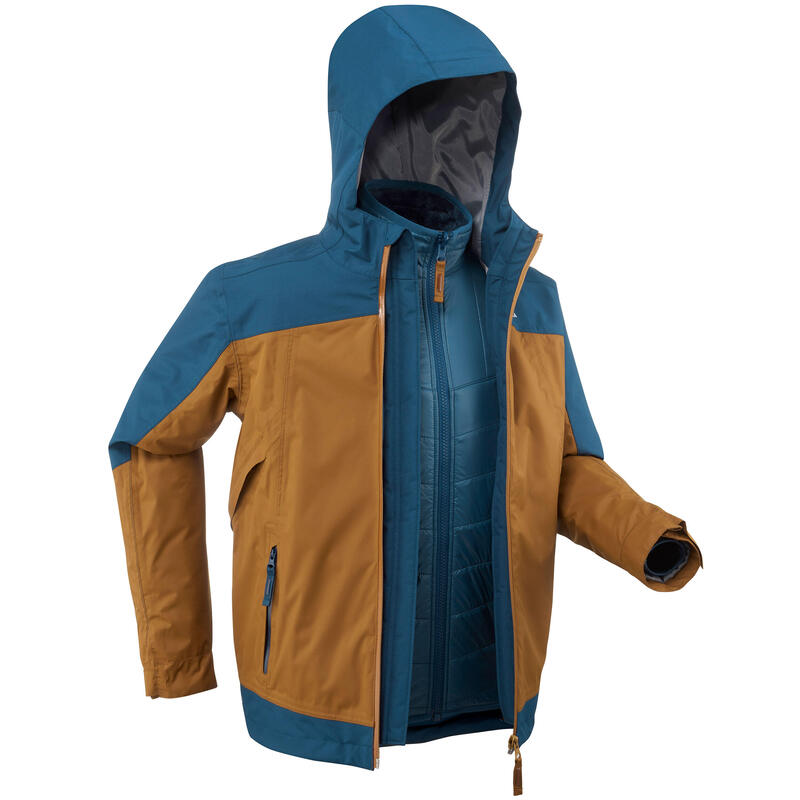 Children's 3-In-1 Winter Waterproof Hiking Jacket-SH500 X-WARM -16°C - Age 7-15