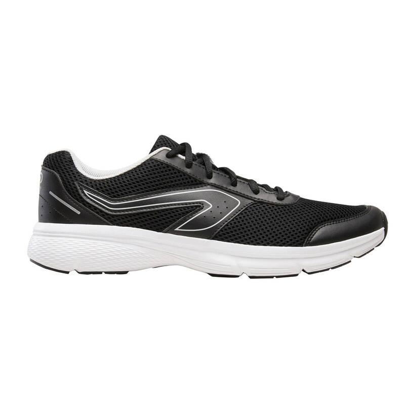 PÁNSKÉ BOTY NA JOGGING / PŘÍLEŽITOSTNÉ POUŽITÍ Běh - BOTY RUN CUSHION ČERNO-ŠEDÉ  KALENJI - Běžecká obuv