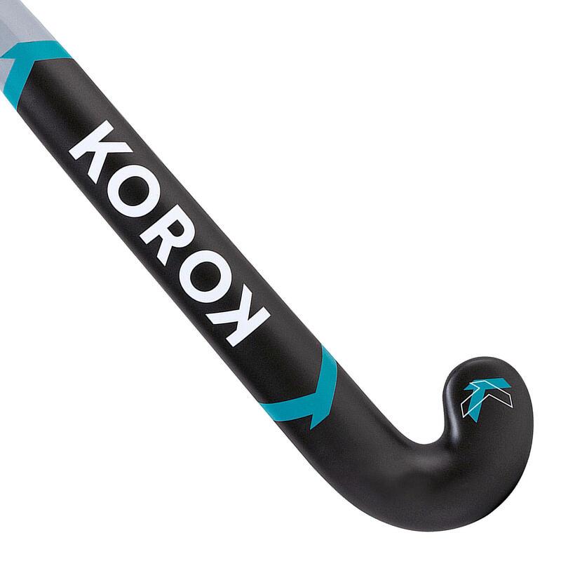 Stick de hockey ado fibre de verre mid bow FH500 gris turquoise