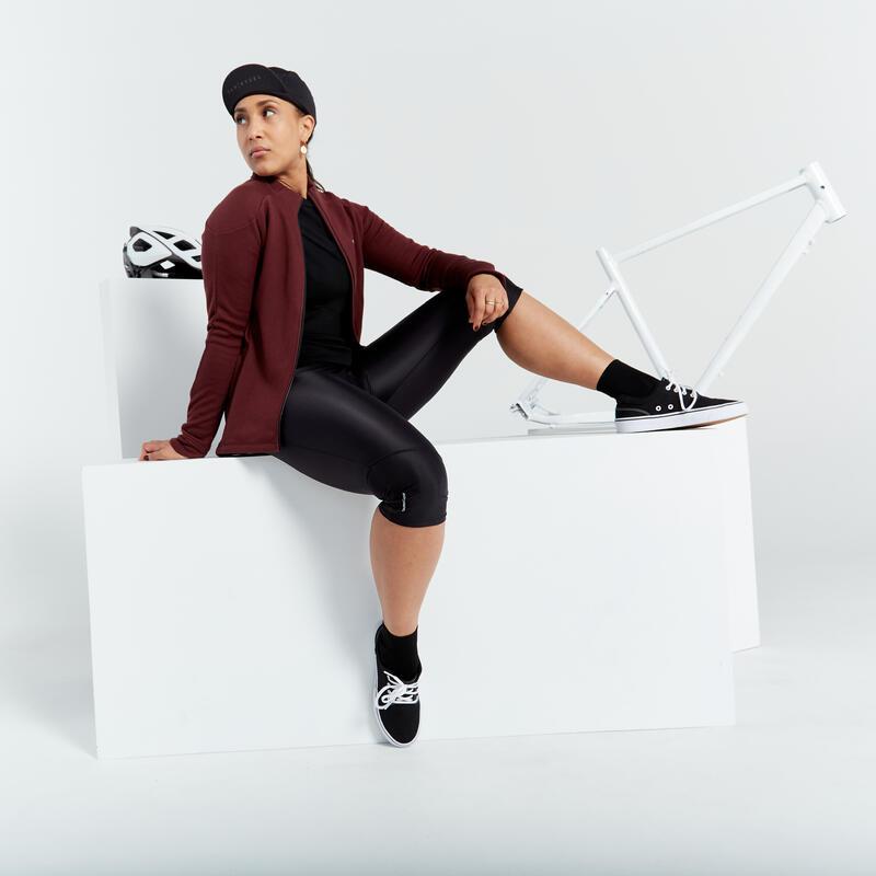 กางเกงปั่นจักรยานรัดรูปสำหรับผู้หญิงรุ่น RC100 (สีดำ)