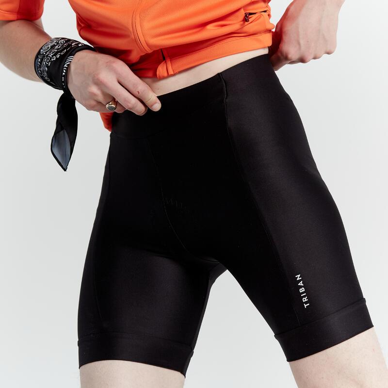กางเกงปั่นจักรยานขาสั้นแบบไม่มีเอี๊ยมรุ่น RC100 (สีดำ)