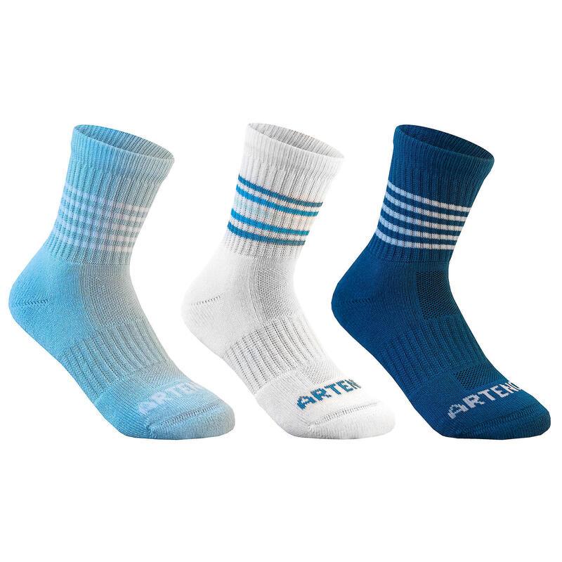 Kids' High-Cut Sports Socks RS 500 Tri-Pack - Sky/White/Blue
