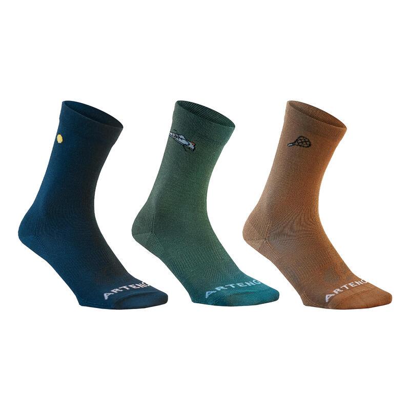 Vysoké tenisové ponožky RS160 modré, hnědé, zelené 3 páry