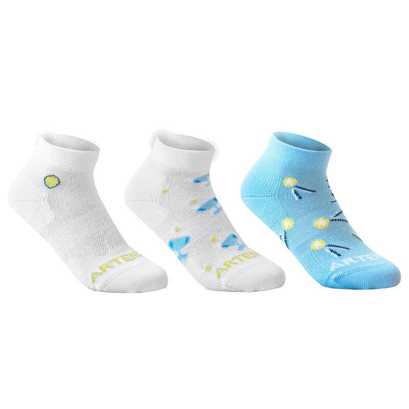 Set perechi Şosete Mid Tenis RS160 Albastru-Alb Copii