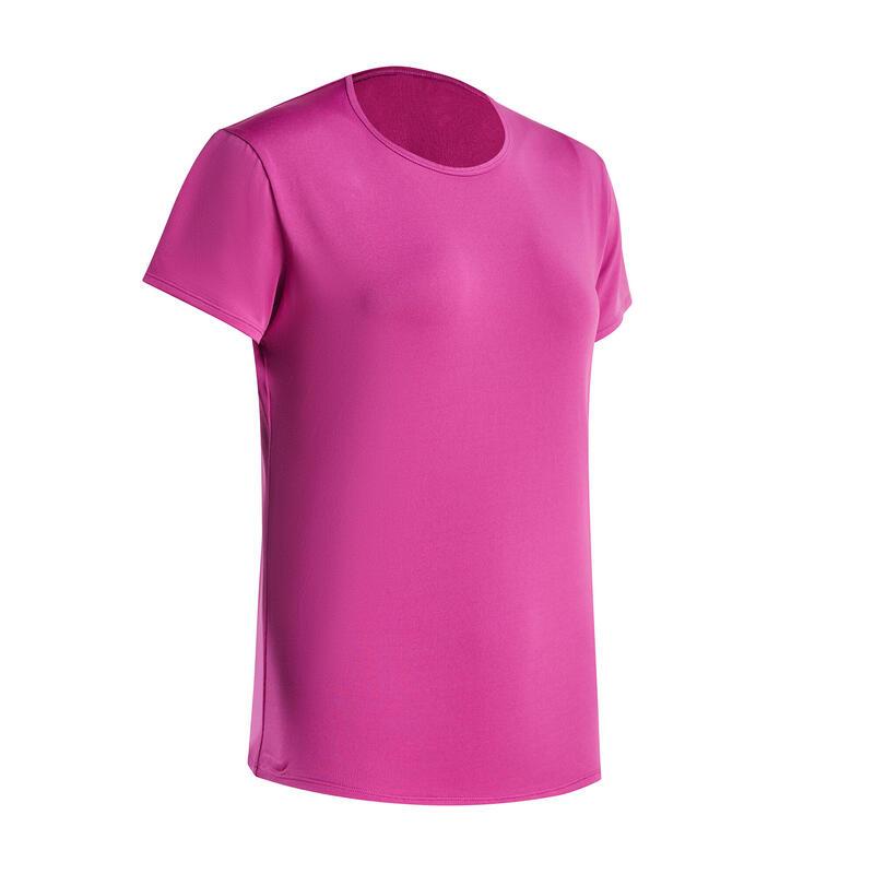 女款舒適透氣有氧運動短袖T恤 DOMYOS Energy -紫紅