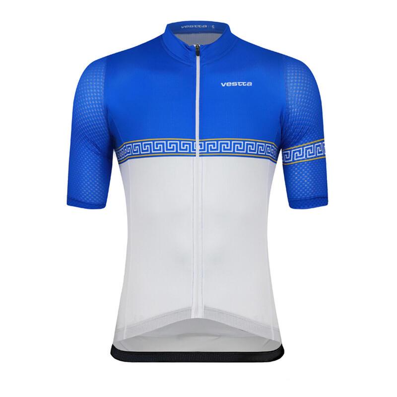 Maillot ciclismo manga corta Vestta Pro Colección Atenas Santorini Blanco y Azul