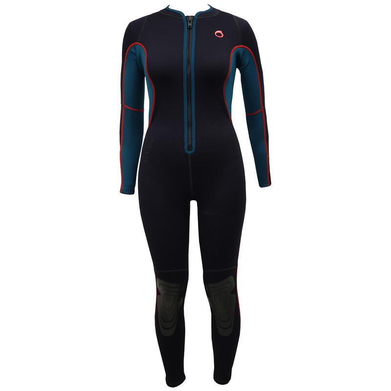 SUBEA women's 2 mm full snorkelling wetsuit with front zip.