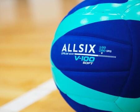 180-200 g Volleyball for 4- to 5-Year-Olds V100 Soft - Blue