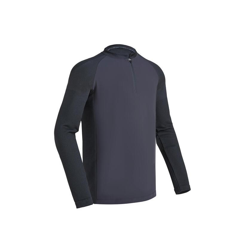 男款有氧健身長袖T恤 - 米色/黑色