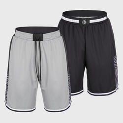 男款雙面籃球短褲SH500R - 灰黑配色
