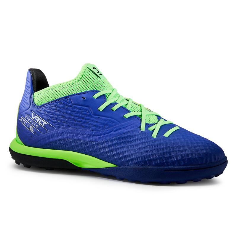 Chaussure de football enfant pour terrain dur VIRALTO III HG bleu et vert fluo