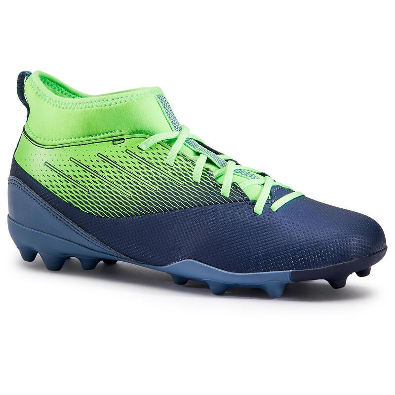 Chaussure de football enfant AGILITY 500 montante semelle MG marine et vert fluo