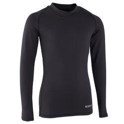 Kids' Warm Long-Sleeved Football Base Layer Top Keepdry 100 - Black
