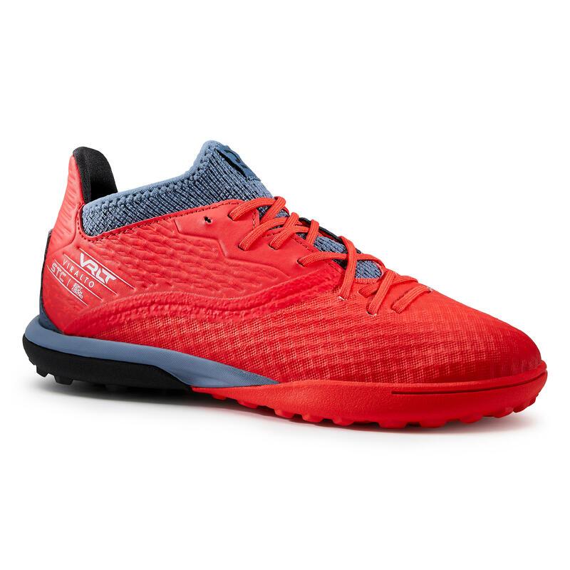 Chaussure de football enfant pour terrain dur VIRALTO III HG rouge et gris