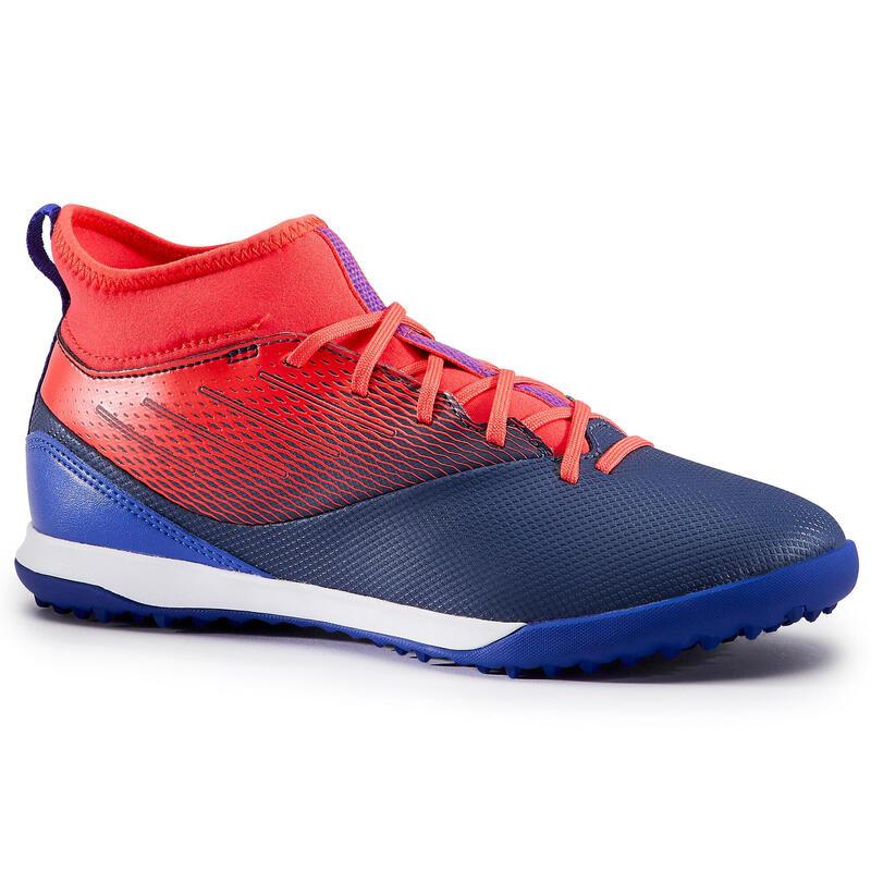 Chaussure de football enfant montante pour terrains durs AGILITY 500 Bleu