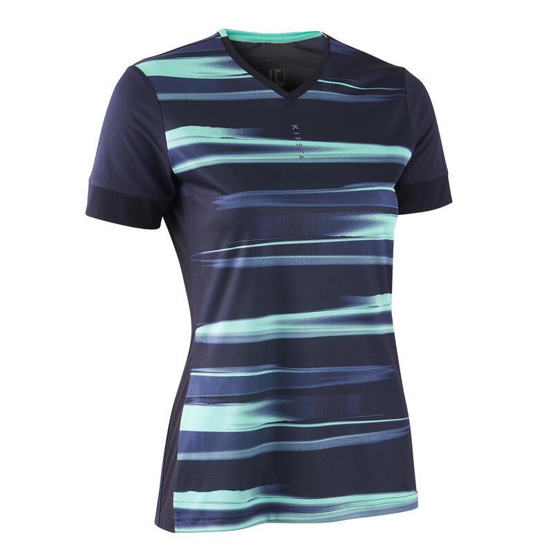Tricou Fotbal F500 Albastru-Verde Damă