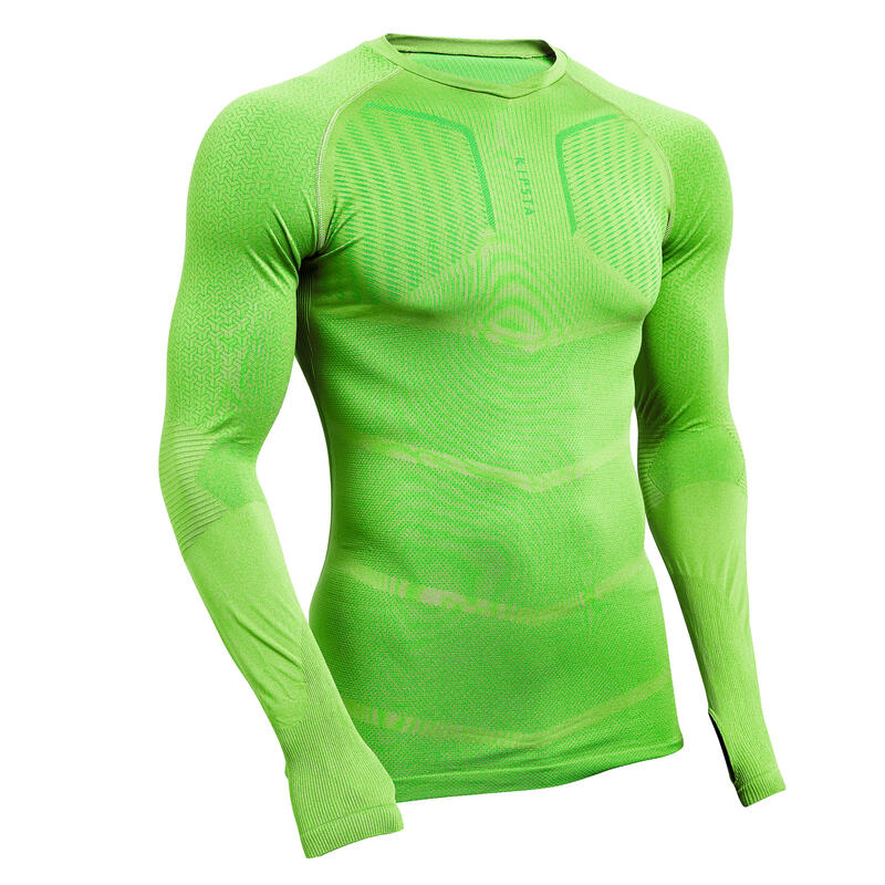 Sous-vêtement Keepdry 500 adulte manches longues football vert anis