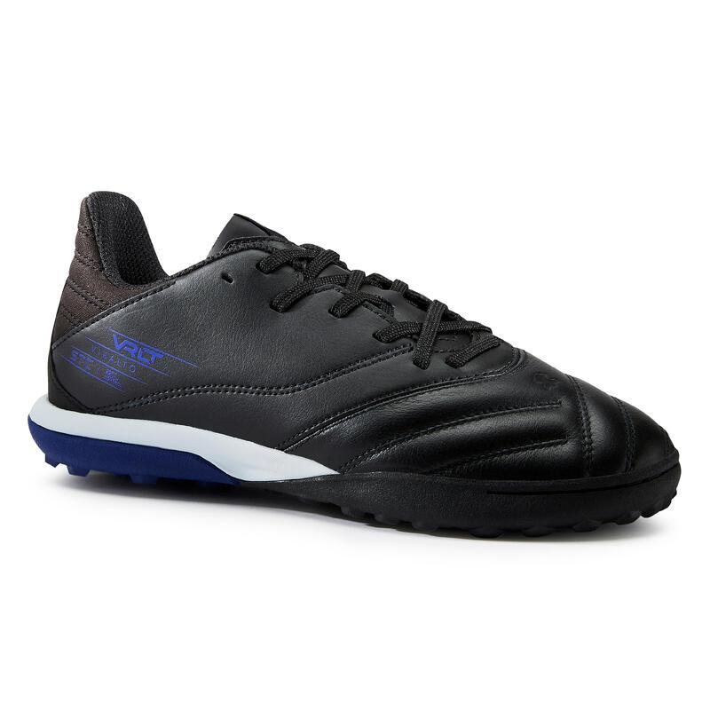 Chaussure de football enfant VIRALTO II CUIR HG pour terrain sec Noir et bleu