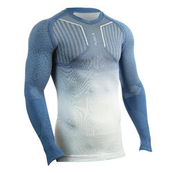 Thermoshirt Keepdry 500 lange mouw unisex blauwgrijs