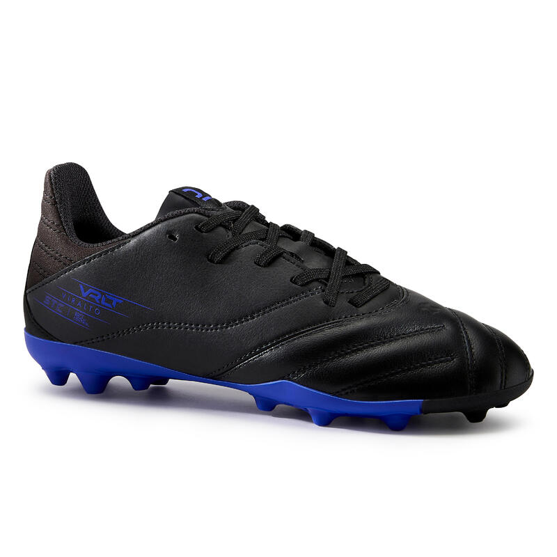 Chaussure de football enfant VIRALTO II CUIR MG pour terrain sec Noir et bleu