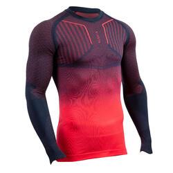 Thermoshirt Keepdry 500 lange mouw unisex blauw/roze