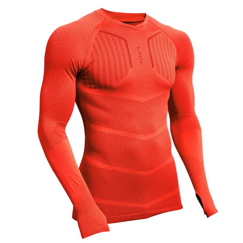 Ondershirt met lange mouwen voor voetbal volwassenen Keepdry 500 felrood