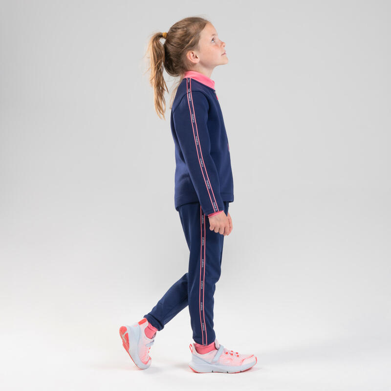 Pantaloni atletica bambino AT 300 blu-rosa