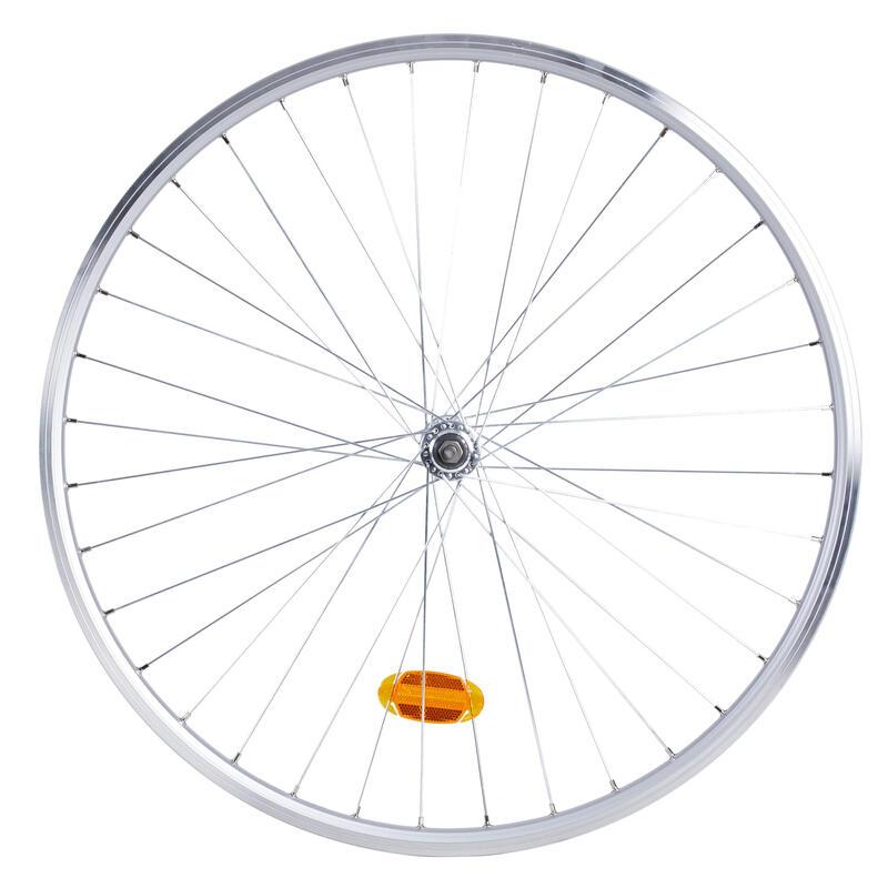 Roue vélo ville avant double paroi v-brake axe rigide argent Elops 120E
