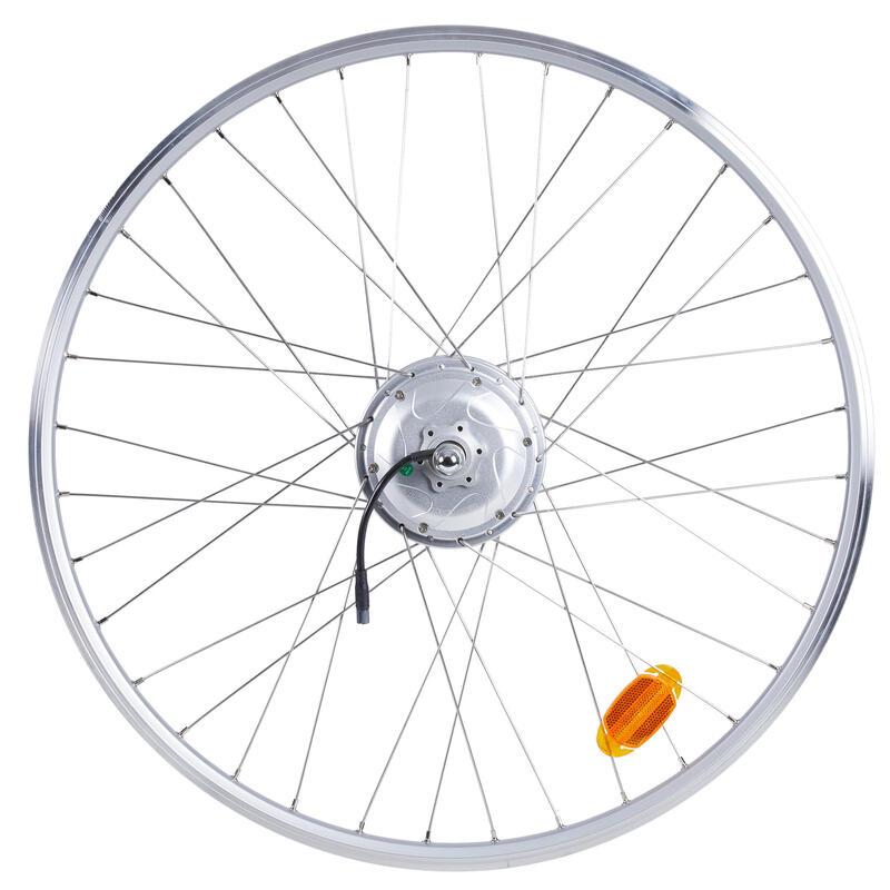 roue arrière vélo ville 28 pouces 36V double paroi argent Elops 120E