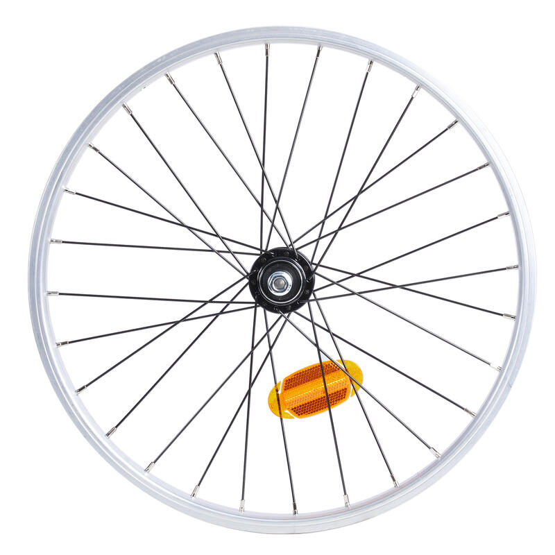 Roue vélo pliant 20 pouces simple paroi vis argente tilt 500