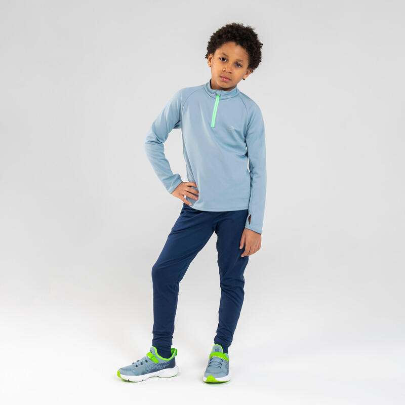 Pantaloni atletica bambino AT 300 blu-grigio