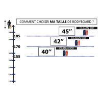 "Bodyboard 900 bleu Gabarit >1m85 45"" polypropylène stringer + leash"