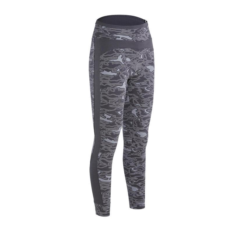 Legging fitness long coton extensible taille haute femme - gris avec imprimé