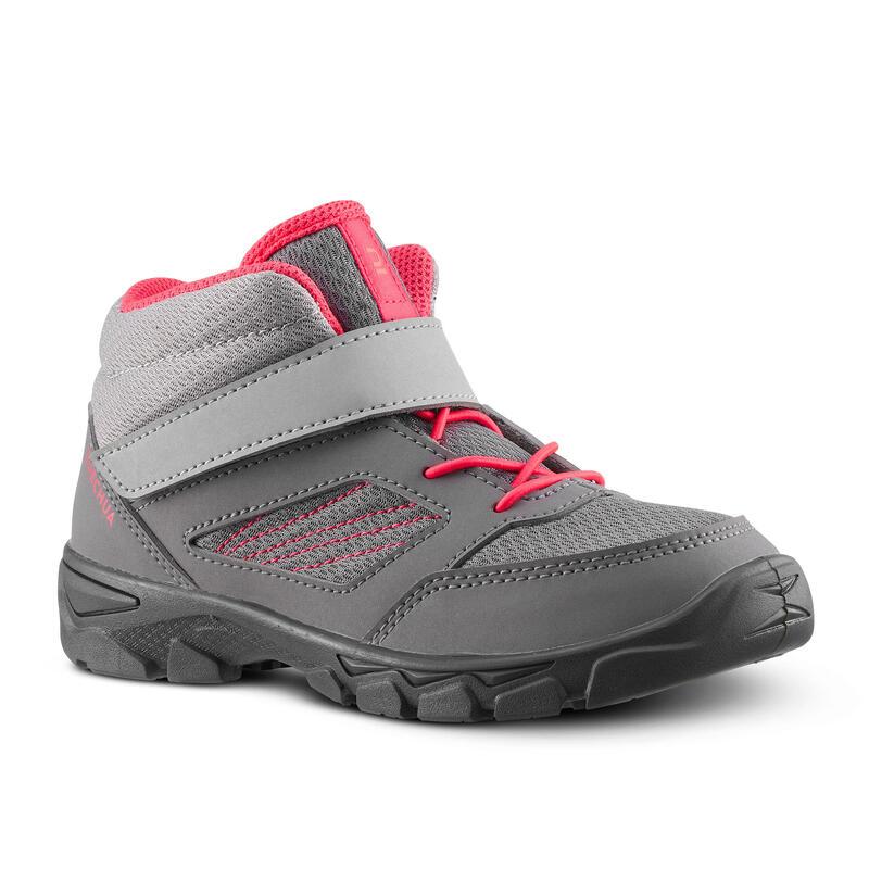 Chaussures de randonnée enfant avec scratch MH100 Mid grise rose du 24 AU 34