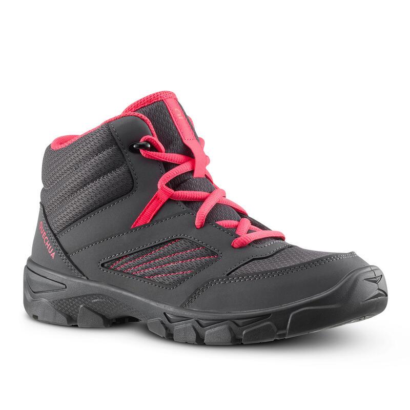 Chaussures de randonnée enfant avec lacets MH100 MID grise foncée du 35 AU 38