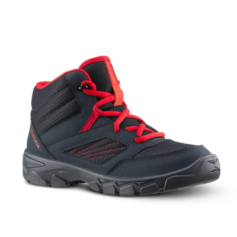 Chlapecké turistické kotníkové boty na šněrování MH 100 tmavě šedé