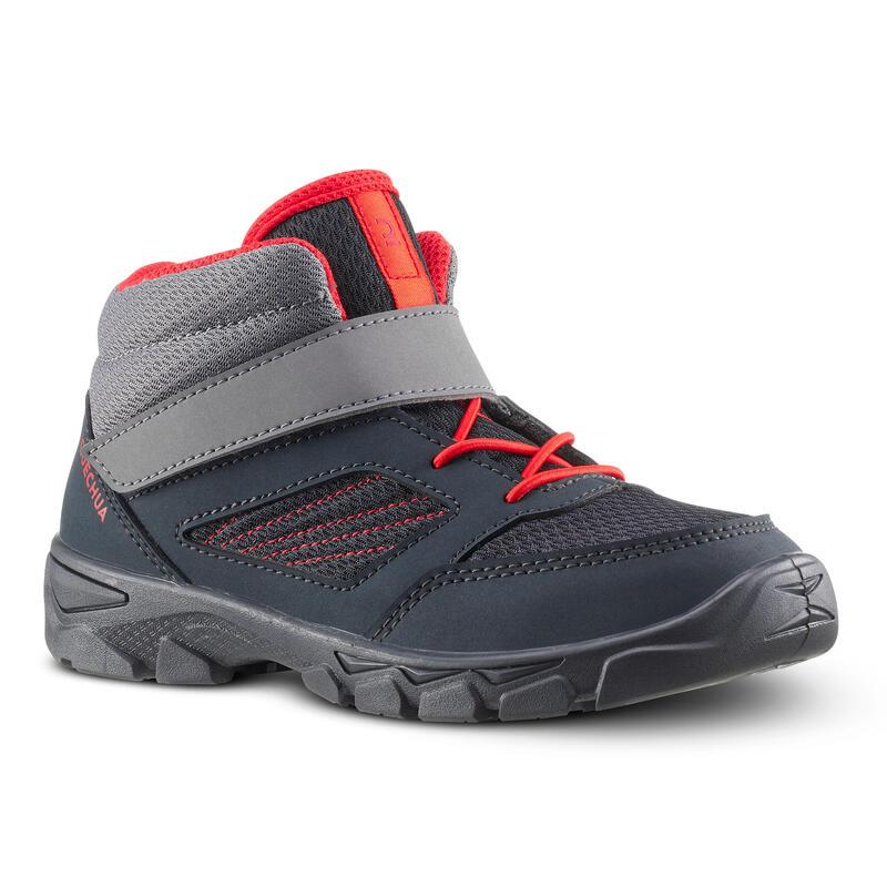 Chaussures de randonnée enfant avec scratch MH100 Mid grise foncée du 24 AU 34