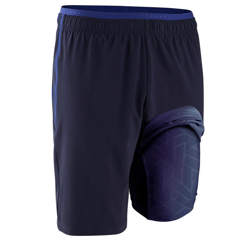 Pantalón corto de fútbol adulto 3 en 1 TRAXIUM azul oscuro